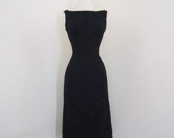 Seductora... vintage 1950's Semont New York floral eyelet little black wiggle dress