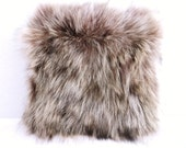 Genuine raccoon Fur Pillow Small Square 10x10 brown tan toss pillow accent pillow feather pillow insert included  Pillow A