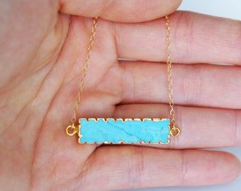 Turquoise Bar Necklace, 14K Gold Filled, Gold Vermeil Turquoise, 8x30mm, Bridesmaid Gift, Birthday Gift, Valentine's Day Gift