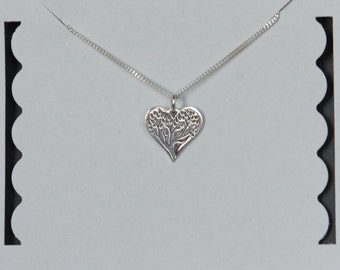 Sterling Silver Heart Tree Necklace, Mother's Gift, Birthday Gift, Kids Jewelry