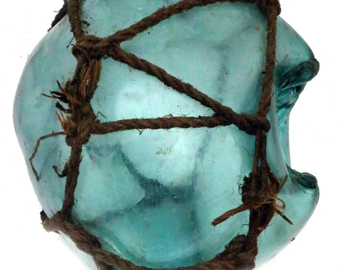 Rare Xl Authentic Japanese Glass Fishing Float, Unique Witch Ball, Bobbers Buoys, Vintage Fish Net, Glass Collector, Frosted Blue Sea Glass