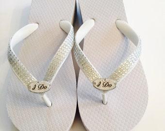 RHINESTONE Bridal Flip Flops.Wedding Flip Flops/Wedges.Beach Wedding.I Do Flip Flops.Beach Weddings.Bridal Bling Shoes.