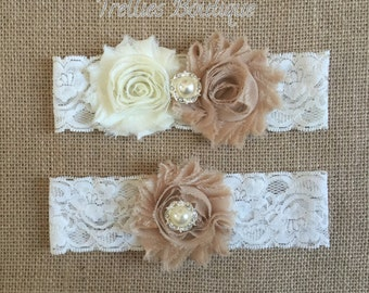 Ivory Tan Lace Rhinestone Pearl Bridal Garter Set- Vintage Garter- Wedding Garter-  Ivory Shabby Flowers- Wedding - Headband