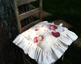 Chair Seat Cover - Tucked Ruffles  with Bow Ties - 18 x 18 inches -Waverly Vintage Rose