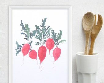 Radish Kitchen Art Print - Watercolor food print, vegetable art - Any ONE 8x10 OR 8x11 Kitchen Decor / Modern Kitchen Art