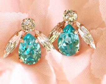 Aquamarine Earrings, Bridal Earrings, Turquoise Earrings, Bridesmaids Earrings, Swarovski Light Blue Earrings, Gift For Her, Crystal Studs