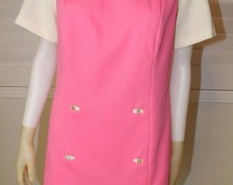 SALE Vintage Pink Color Block 60's Mod Mini Dress  M