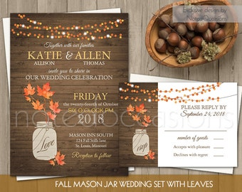 Rustic Fall Wedding Invitation Set | Fall Leaves Mason Jar Wedding Invite and RSVP String Lights Country Wedding | DIY digital printable