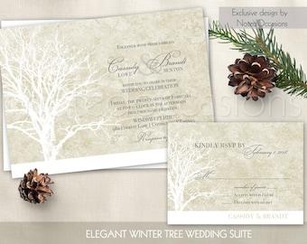 Rustic Tree Wedding Invitation Set Oak Tree Wedding Invitation Winter weddings - Tree Wedding Invitations- Digital DIY printable Wedding Set