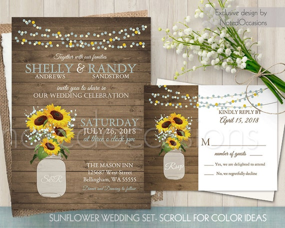 sunflower wedding invitation set printable sunflower wedding, invitation samples