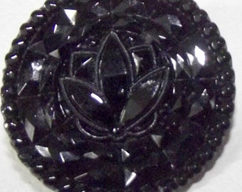 Antique Button Large Victorian Lacy black glass Faceted