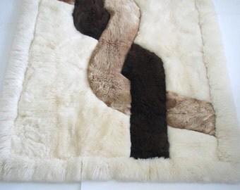 Mid century rug/ alpaca rug/ boho decor/ fur rug