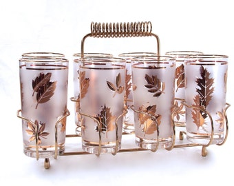 Mid Century Libbey, Frosted Gold Foliage, Leaf Glassware, Metal Carry Caddy, Everyday Crystal, Vintage Barware, Cocktail Glasses, Mad Men