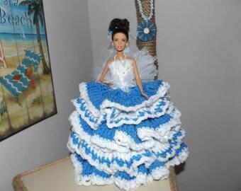 BARBIE DOLL/toilet paper doll/cornflower blue and white ruffles