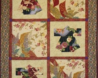 Kimono Squares Quilt, 5003-0, , kimono table runner, kimono wall hanging