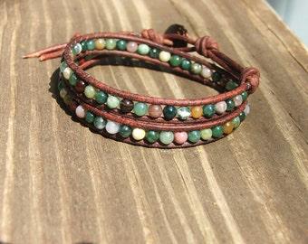 Leather Wrap Bracelet -Fancy Jasper beads on leather