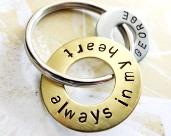 Always In My Heart Keychain with Brass Washer and Hardware Washer - In Memory Of - Memorial Gift - Loss of Husband, Son, Daughter