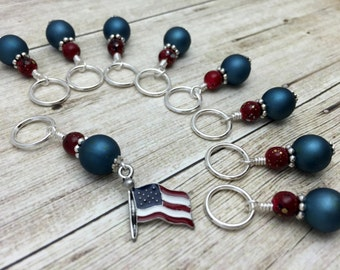 American Flag Stitch Marker Set- Snag Free Beaded Knitting Stitch Markers- Crochet Markers- Gifts for Knitters- Tools