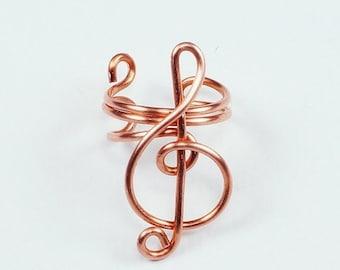 Summer Sale - 10% off - Ear Cuff - Small Treble Clef - Copper