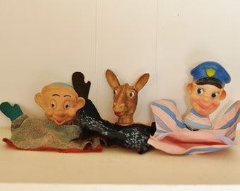 Vintage Hand Puppets Set of 3 Doll Collection 1950's Mid Century Toys Donkey Disney Dwarf & Policeman Vintage Fabrics Kids Childrens Dolls