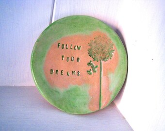 Follow your Dreams jewellery dish / tea bag dish. Made in Wales, UK.