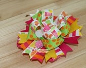 Sweet Lemonade, Boutique Hair Bow, Pink, Yellow