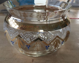 A Pretty vintage painted and gilded glass bowl possibly Bohemian or Romanian.