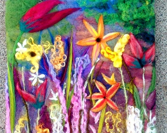"Summer Flowers Needle Felted Picture Painting, 12"" x 14 1/2"""