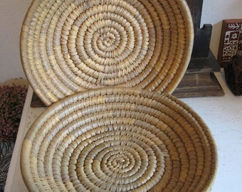 2 Vintage Handmade Coiled Sweet Grass Gathering Baskets