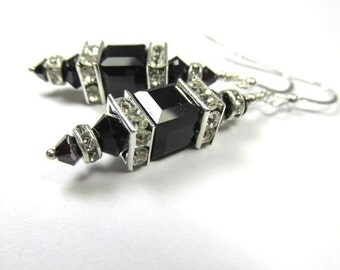 Jet Black and Silver Swarovski Cube Earrings on Sterling Silver
