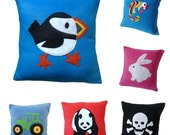 Kid's Fleece cushion pillow covers Over 20 fun bright designs to choose from!