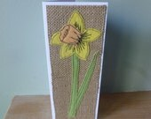Applique Daffodil textile birthday or mother's day or thankyou card