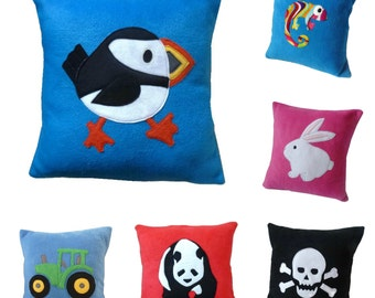 Kid's cushion fleece pillow covers animal cushion nursery Over 20 fun bright designs to choose from!