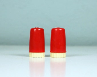 Red Salt and Pepper Shakers / S and P / Art Deco Style / Cherry Red Kitchen Gift / 1950s Kitchen