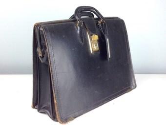 1950s Black Leather Attache Case, Letter File, Briefcase, Potfolio Case, Vintage Luggage, Leather Bag