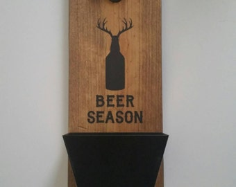 Wall Mount Bottle Opener and Cap Catcher -  Anniversary - Cast Iron Gift - Hunter Gift