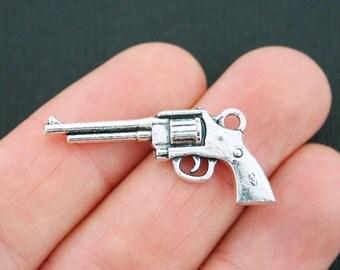 5 Gun Charms Antique Silver Tone 2 Sided Revolver - SC5089