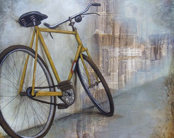 Bicycle Art, titled The Yellow Bicycle, Bicycle Art Print, Mixed Media Art, Limited Edition Print