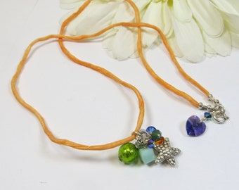 Silk Cord and Murano Glass Necklace with Fairtrade Karen Fine Silver Starfish, Venetian Glass, Swarovski Crystal and 925 Sterling Silver