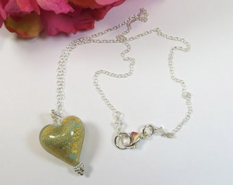 Venetian Murano Glass Necklace, Acquamarina Oro Aquamarine Gold Crackle Heart Necklace with Swarovski crystal and 925 Sterling Silver Chain