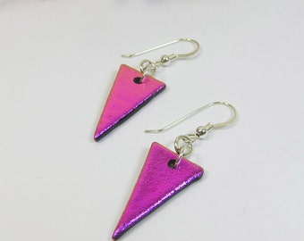 Dichroic Glass Pennant Shape Earrings with Sterling Silver, Dichroic Silver Earrings, Colour Change Earrings, Hot Pink Silver Earrings