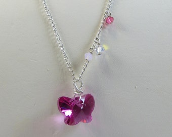 Fuchsia Pink Swarovski Crystal Butterfly on Chain Necklace, Swarovski Crystal Fuchsia Pink Butterfly Necklace, Swarovski Wirework Necklace