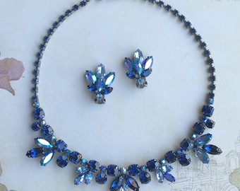 Regency Necklace & Earrings In  Blue Rhinestones