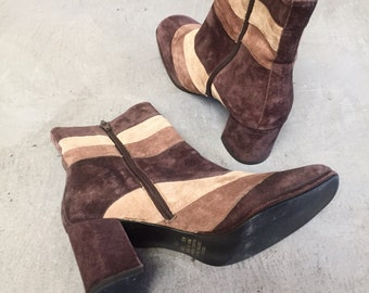 1970's Mega Babe Color Blocked Boots