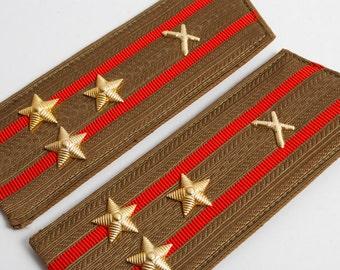Vintage Soviet Army officer uniform shoulder boards, shoulder strap, colonel  Artillery.