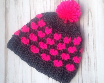 Grey and Pink Heart Slouch Hat, Sizes 12 months to Womens, Womens hat, Fall hat, Unique Handamade gift, Crochet Hat, Slouchy hat