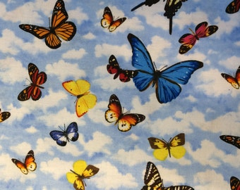 Fabric Butterfly Colorful on Blue Sky Red Yellow Blue Orange By the 1/2 yard Eustheelf Quilt 100% Cotton 16