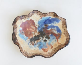 Contemporary Ceramic Trinket Tray Abstract Clay Candle Holder Modern Pottery Decorative Dish Rust And Blue Small Art Vessel