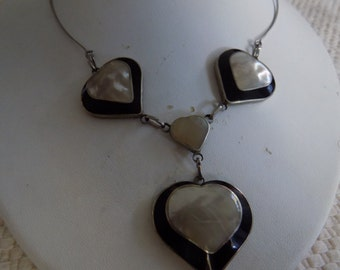 Vintage necklace, inlaid iridescent MOP four heart pendant necklace, jewellery