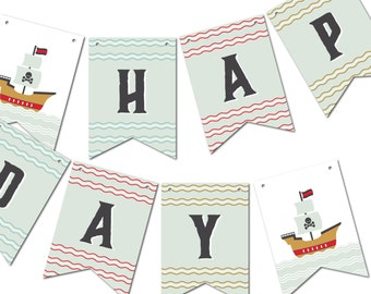 Bunting Banner Flags, Birthday Garland, Party Décor // PIRATE SHIP